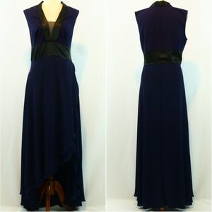 Venus Navy Tuxedo Chiffon Satin High Low Dress